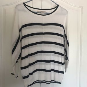 Loft, 3/4 sleeve, black and white, striped sweater